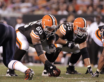 CLEVELAND - SEPTEMBER 2: Shawn Lauvao #66 and Pat Murray #75 of the Cleveland Browns line up before the snap against the Chicago Bears during the preseason game on September 2, 2010 at Cleveland Browns Stadium in Cleveland, Ohio. The Browns defeated the B