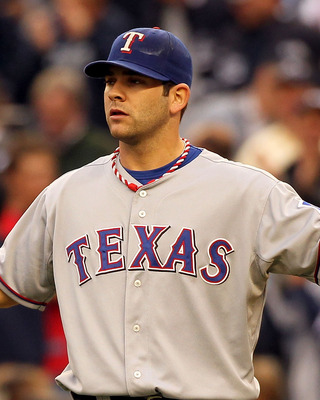 NEW YORK - OCTOBER 20:  Mitch Moreland #18 of the Texas Rangers gestures to his team against the New York Yankees in Game Five of the ALCS during the 2010 MLB Playoffs at Yankee Stadium on October 20, 2010 in the Bronx borough of New York City.  (Photo by