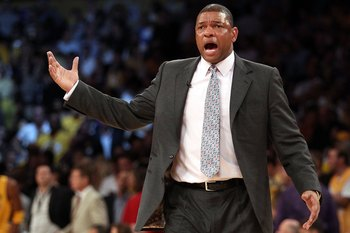 LOS ANGELES, CA - JUNE 17:  Head coach Doc Rivers of the Boston Celtics reacts while taking on the Los Angeles Lakers in Game Seven of the 2010 NBA Finals at Staples Center on June 17, 2010 in Los Angeles, California.  NOTE TO USER: User expressly acknowl