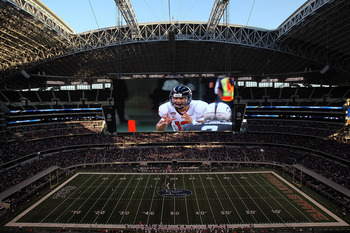 ARLINGTON, TX - SEPTEMBER 04:  Quarterback Ryan Katz #12 of the Oregon State Beavers is shown on the video screen against the TCU Horned Frogs at Cowboys Stadium on September 4, 2010 in Arlington, Texas.  (Photo by Ronald Martinez/Getty Images)