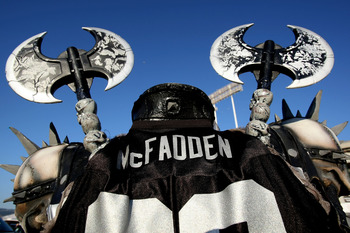 OAKLAND, CA - SEPTEMBER 08:  An Oakland Raider fan walks around the stadium before the Denver Broncos and the Oakland Raiders NFL game at McAfee Coliseum on September 8, 2008 in Oakland, California.  (Photo by Jed Jacobsohn/Getty Images)