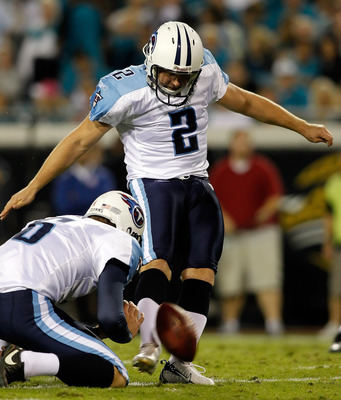 JACKSONVILLE, FL - OCTOBER 18:  Kicker Rob Bironas #2 of the Tennessee Titans kicks a field goal against the Jacksonville Jaguars during the game at EverBank Field on October 18, 2010 in Jacksonville, Florida.  (Photo by J. Meric/Getty Images)