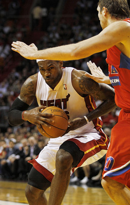 MIAMI - OCTOBER 12:  Forward LeBron James #6 drives against CSKA Moscow on October 12, 2010 in Miami, Florida.  Miami heat won 96-85 over CSKA Moscow.  NOTE TO USER: User expressly acknowledges and agrees that, by downloading and or using this photograph,