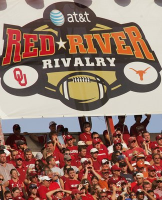 DALLAS - OCTOBER 7:  General view of the Rivalry banner hung above fans during the Red River Shootout between the Texas Longhorns and the Oklahoma Sooners at the Cotton Bowl on October 7, 2006 in Dallas, Texas. The Longhorns won 28-10. (Photo by Ronald Ma
