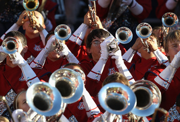 TUCSON, AZ - OCTOBER 09:  The Arizona Wildcats marching band performs during the college football game against the Oregon State Beavers at Arizona Stadium on October 9, 2010 in Tucson, Arizona. The Beavers defeated the Wildcats 29-27.  (Photo by Christian