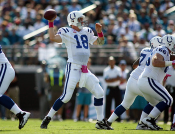 JACKSONVILLE, FL - OCTOBER 03:  Quarterback Peyton Manning #18 of the Indianapolis Colts throws while taking on the Jacksonville Jaguars at EverBank Field on October 3, 2010 in Jacksonville, Florida.  (Photo by Marc Serota/Getty Images)
