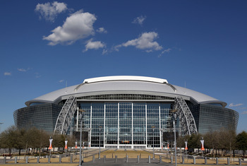 ARLINGTON, TX - MARCH 12:  A general view of the exterior of Cowboys Stadium before the weigh-in for the WBO welterweight title fight between Manny Pacquiao of the Philippines and Joshua Clottey of Ghana on March 12, 2010 in Arlington, Texas.  Pacquiao an