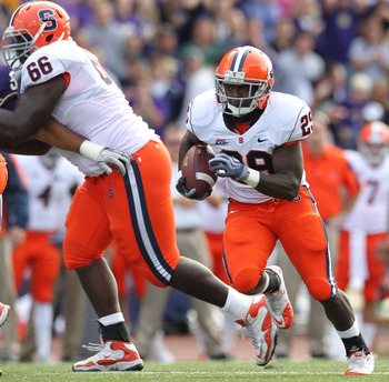 SEATTLE - SEPTEMBER 11:  Running back Antwon Bailey #29 of the Syracuse Orange rushes against the Washington Huskies on September 11, 2010 at Husky Stadium in Seattle, Washington. (Photo by Otto Greule Jr/Getty Images)