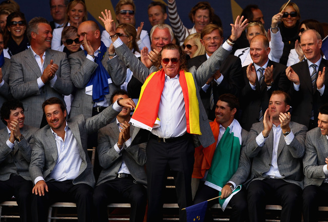 NEWPORT, WALES - OCTOBER 04:  Miguel Angel Jimenez of Europe acknowledges the crowd at the closing ceremonies following Europe's 14.5 to 13.5 victory over the USA at the 2010 Ryder Cup at the Celtic Manor Resort on October 4, 2010 in Newport, Wales.  (Pho