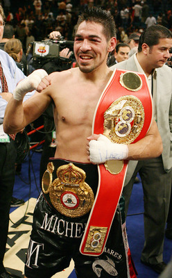 LAS VEGAS - JULY 26:  Antonio Margarito celebrates his 11th-round TKO victory over Miguel Cotto to win the WBA welterweight championship at the MGM Grand Garden Arena July 26, 2008 in Las Vegas, Nevada.  (Photo by Ethan Miller/Getty Images)