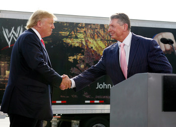 GREEN BAY, WI - JUNE 22:  Vince McMahon (R) and Donald Trump attend a press conference about the WWE at the Austin Straubel International Airport on June 22, 2009 in Green Bay, Wisconsin.  (Photo by Mark A. Wallenfang/Getty Images)