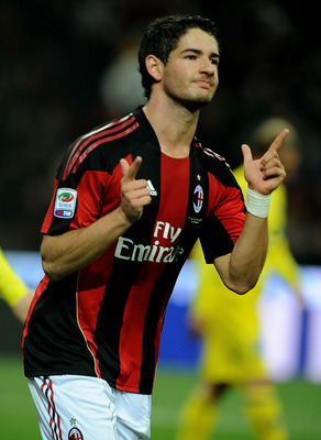 MILAN, ITALY - OCTOBER 16:  Alexandre Pato of AC Milan celebrates scoring his team's second goalthe  during the Serie A match between AC Milan and AC Chievo Verona at Stadio Giuseppe Meazza on October 16, 2010 in Milan, Italy.  (Photo by Massimo Cebrelli/