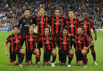 MADRID, SPAIN - OCTOBER 19:  The AC Milan team lineup before the start of the UEFA Champions League Group G match between Real Madrid and AC Milan at Estadio Santiago Bernabeu on October 19, 2010 in Madrid, Spain.  (Photo by Denis Doyle/Getty Images)