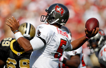 TAMPA, FL - OCTOBER 17:  Quarterback Josh Freeman #5 of the Tampa Bay Buccaneers throws a pass against the New Orleans Saints during the game at Raymond James Stadium on October 17, 2010 in Tampa, Florida.  (Photo by J. Meric/Getty Images)