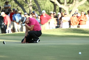 SAN ANTONIO - OCTOBER 7:  Jesper Parnevik of Sweden reacts to missing a birdie putt on the 16th hole, the third playoff hole, during the final round of the Valero Texas Open at LaCantera Golf Club October 7, 2007 in San Antonio, Texas.  (Photo by Jonathan