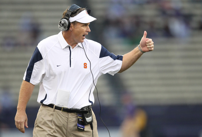 SEATTLE - SEPTEMBER 11:  Head coach Doug Marrone of the Syracuse Orange gestures during the game against the Washington Huskies on September 11, 2010 at Husky Stadium in Seattle, Washington. (Photo by Otto Greule Jr/Getty Images)