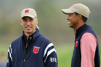 NEWPORT, WALES - SEPTEMBER 30:  USA Team Captain Corey Pavin chats with Tiger Woods during a practice round prior to the 2010 Ryder Cup at the Celtic Manor Resort on September 30, 2010 in Newport, Wales.  (Photo by Andy Lyons/Getty Images)