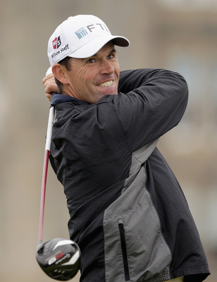 ST ANDREWS, SCOTLAND - OCTOBER 10:  Padraig Harrington of Ireland drives off the second tee during the final round of The Alfred Dunhill Links Championship at The Old Course on October 10, 2010 in St Andrews, Scotland. (Photo by Andrew Redington/Getty Ima