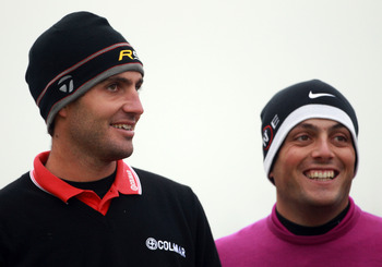 CARNOUSTIE, SCOTLAND - OCTOBER 09:  Edoardo Molinari and Francesco Molinari on the sixth tee during the third round of The Alfred Dunhill Links Championship at the Carnoustie Golf Links on October 9, 2010 in Carnoustie, Scotland.  (Photo by Andrew Redingt