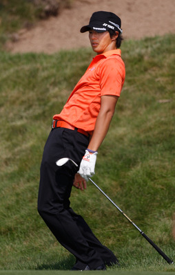 KOHLER, WI - AUGUST 12:  Ryo Ishikawa of Japan reacts on the 11th hole during the first round of the 92nd PGA Championship on the Straits Course at Whistling Straits on August 12, 2010 in Kohler, Wisconsin.  (Photo by Chris Graythen/Getty Images)