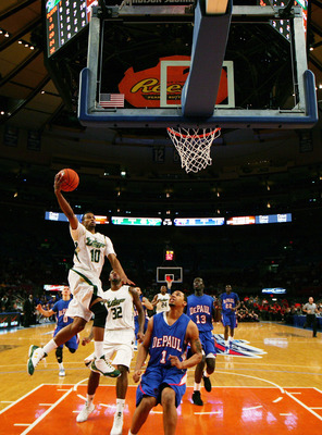 NEW YORK - MARCH 09: Anthony Crater #10 of the University of South Florida drives to the basket against DePaul University during the first round game of the Big East Basketball Tournament at Madison Square Garden on March 9, 2010 in New York City.  (Photo