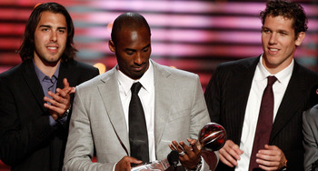 LOS ANGELES, CA - JULY 15: (L-R) Los Angeles Lakers Sasha Vujacic, Kobe Bryant and Luke Walton accept the Best Team award onstage during the 2009 ESPY Awards held at Nokia Theatre LA Live on July 15, 2009 in Los Angeles, California. The 17th annual ESPYs