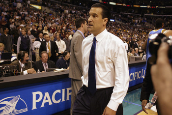 LOS ANGELES - MARCH 14:  UCLA head coach Steve Lavin walks off the floor after being defeated by Oregon in the NCAA Pac-10 Conference tournament semifinals game at the Staples Center on March 14, 2003 in Los Angeles, California.  In what could be Lavin's