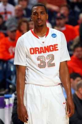 BUFFALO, NY - MARCH 19:  Kris Joseph #32 of the Syracuse Orange looks on against the Vermont Catamounts during the first round of the 2010 NCAA men's basketball tournament at HSBC Arena on March 19, 2010 in Buffalo, New York.  (Photo by Rick Stewart/Getty