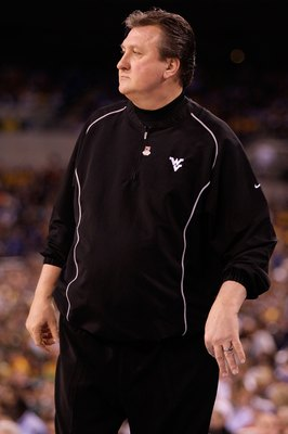 INDIANAPOLIS - APRIL 03:  Head coach Bob Huggins of the West Virginia Mountaineers reacts while taking on the Duke Blue Devils during the National Semifinal game of the 2010 NCAA Division I Men's Basketball Championship at Lucas Oil Stadium on April 3, 20