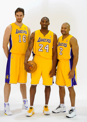 EL SEGUNDO, CA - SEPTEMBER 25:  Kobe Bryant #24,  Pau Gasol #16 and Derek Fisher #2 of the Los Angeles Lakers pose for a photograph during Media Day at the Toyota Center on September 25, 2010 in El Segundo, California. NOTE TO USER: User expressly acknowl