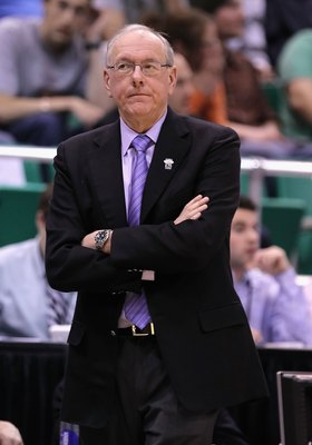 SALT LAKE CITY - MARCH 25:  Head coach Jim Boeheim of the Syracuse Orange coaches against the Butler Bulldogs during the west regional semifinal of the 2010 NCAA men's basketball tournament at the Energy Solutions Arena on March 25, 2010 in Salt Lake City