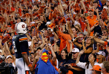 AUBURN, AL - OCTOBER 23:  Quarterback Cameron Newton #2 of the Auburn Tigers celebrates with the fans after their 24-17 over the LSU Tigers at Jordan-Hare Stadium on October 23, 2010 in Auburn, Alabama.  (Photo by Kevin C. Cox/Getty Images)