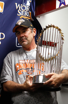 Manager Bruce Bochy with his first world title