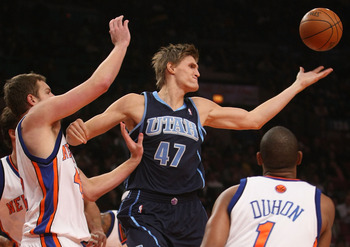NEW YORK - NOVEMBER 09: Andrei Kirilenko #47 of the Utah Jazz loses control of the ball against the New York Knicks at Madison Square Garden on November 9, 2009 in New York City.  NOTE TO USER: User expressly acknowledges and agrees that, by downloading a