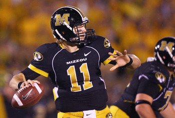 COLUMBIA, MISSOURI - OCTOBER 23: Blaine Gabbert #11 of the Missouri Tigers passes against the Oklahoma Sooners at Faurot Field/Memorial Stadium on October 23, 2010 in Columbia, Missouri.  The Tigers beat the Sooners 36-27.  (Photo by Dilip Vishwanat/Getty