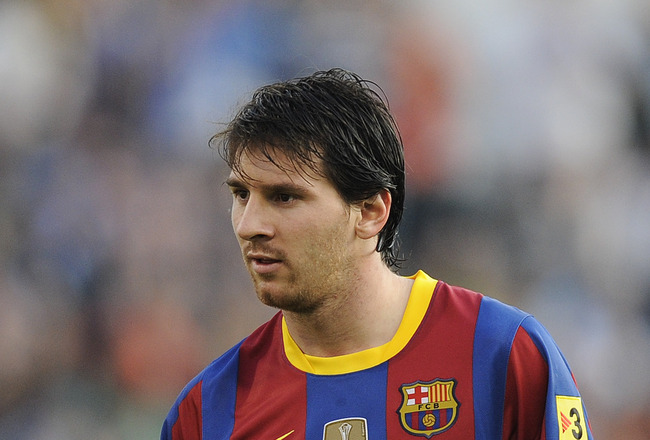 ZARAGOZA, SPAIN - OCTOBER 23:  Lionel Messi of Barcelona looks on during the La Liga match between Real Zaragoza and Barcelona at La Romareda on October 23, 2010 in Zaragoza, Spain. Barcelona won the match 2-0.  (Photo by David Ramos/Getty Images)