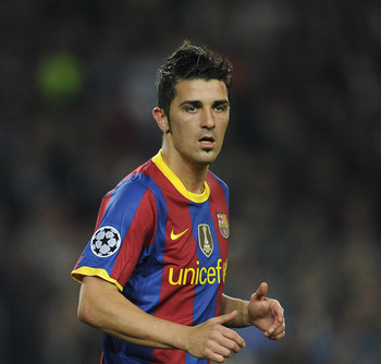 BARCELONA, SPAIN - OCTOBER 20:  David Villa of Barcelona looks on during the UEFA Champions League group D match between Barcelona and FC Copenhagen at the Camp nou stadium on October 20, 2010 in Barcelona, Spain.  (Photo by David Ramos/Getty Images)