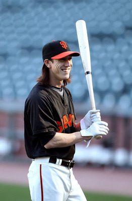 SAN FRANCISCO - OCTOBER 18:  Tim Lincecum #55 of the San Francisco Giants takes batting practice during a workout session for the NLCS at AT&T Park on October 18, 2010 in San Francisco, California.  (Photo by Ezra Shaw/Getty Images)