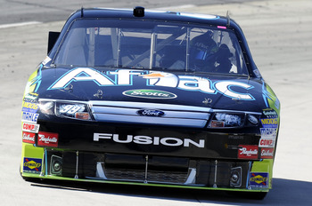 MARTINSVILLE, VA - OCTOBER 22: Carl Edwards drives the #99 Aflac Ford during practice for the NASCAR Sprint Cup Series TUMS Fast Relief 500 at Martinsville Speedway on October 22, 2010 in Martinsville, Virginia.  (Photo by John Harrelson/Getty Images)