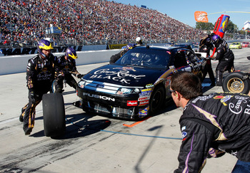 MARTINSVILLE, VA - OCTOBER 24: Matt Kenseth, driver of the #17 Crown Royal Black Ford, pits during the NASCAR Sprint Cup Series TUMS Fast Relief 500 at Martinsville Speedway on October 24, 2010 in Martinsville, Virginia.  (Photo by Geoff Burke/Getty Image