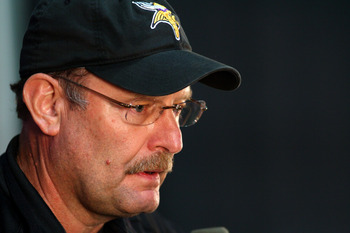 EDEN PRAIRIE, MN - OCTOBER 7:  Minnesota Vikings head coach Brad Childress answers questions from the media during a press conference at Winter Park on October 7, 2010 in Eden Prairie, Minnesota.  (Photo by Adam Bettcher/Getty Images)