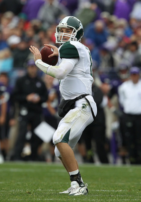 EVANSTON, IL - OCTOBER 23: Kirk Cousins #8 of the Michigan State Spartans throws a pass against the Northwestern Wildcats at Ryan Field on October 23, 2010 in Evanston, Illinois. Michigan State defeated Northwestern 35-27, (Photo by Jonathan Daniel/Getty