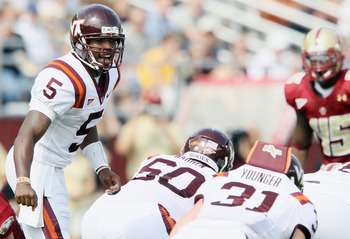 CHESTNUT HILL, MA - SEPTEMBER 25:  Tyrod Taylor #5 of the Virginia Tech Hokies calls out the play in the first quarter against the Boston College Eagles on September 25, 2010 at Alumni Stadium in Chestnut Hill, Massachusetts.  (Photo by Elsa/Getty Images)