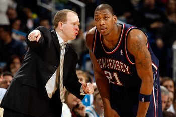 NEW ORLEANS - JANUARY 21: Head coach Lawrence Frank talks with Bobby Simmons #21 of the New Jersey Nets against the New Orleans Hornets on January 21, 2009 at the New Orleans Arena in New Orleans, Louisiana. The Hornets defeated the Nets 102-92.   NOTE TO