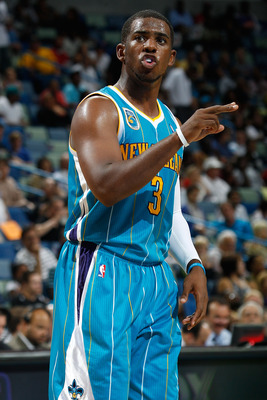 NEW ORLEANS - OCTOBER 13:  Chris Paul #3 of the New Orleans Hornets in action during the game against the Miami Heat at the New Orleans Arena on October 13, 2010 in New Orleans, Louisiana.  NOTE TO USER: User expressly acknowledges and agrees that, by dow
