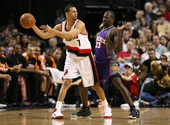 PORTLAND, OR - APRIL 29:  Brandon Roy #7 of the Portland Trail Blazers in action against Jason Richardson #23 of the Phoenix Suns during Game Six of the Western Conference Quarterfinals of the NBA Playoffs on April 29, 2010 at the Rose Garden in Portland,
