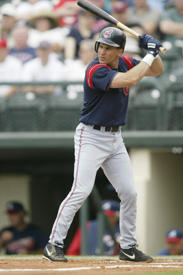 7 Mar 2002: Omar Vizquel #13 of the Cleveland Indians at bat against the Atlanta Braves during the spring training game at the Wide World of Sports Complex in Lake Buena Vista, Florida. DIGITAL IMAGE. Mandatory Credit: Andy Lyons/Getty Images