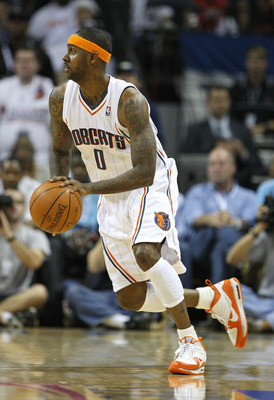 CHARLOTTE, NC - APRIL 24:  Guard Larry Hughes #0 of the Charlotte Bobcats dribbles with the ball during Game Three of the Eastern Conference Quarterfinals against the Orlando Magic during the 2010 NBA Playoffs at Time Warner Cable Arena on April 24, 2010