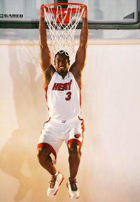 MIAMI - SEPTEMBER 27:  Dwyane Wade #3 of the Miami Heat pose for photos during media day at the Bank United Center on September 27, 2010 in Miami, Florida.  (Photo by Marc Serota/Getty Images)