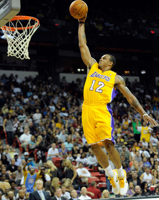LAS VEGAS - OCTOBER 13:  Shannon Brown #12 of the Los Angeles Lakers goes in for a dunk against the Sacramento Kings during their preseason game at the Thomas & Mack Center October 13, 2010 in Las Vegas, Nevada. The Lakers won 98-95. NOTE TO USER: User ex